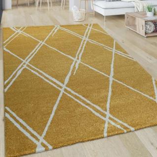 Wohnzimmer-Teppich, Kurzflor Mit Skandi-Design Und Rauten-Muster, In Gelb