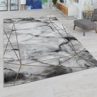 Wohnzimmer-Teppich, Kurzflor-Teppich Mit Marmor-Design Und Bordüre, In Grau Gold
