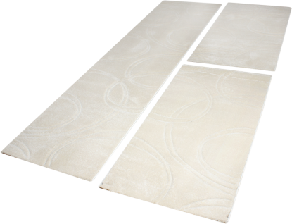 Bettumrandung Teppich Handgearbeiteten Konturen Creme Elfenbein Läuferset 3 Tlg.