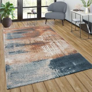 Teppich Wohnzimmer Vintage Kurzflor Abstraktes Muster Modern In Orange Blau