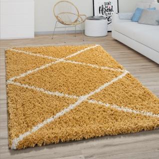 Hochflor Teppich Wohnzimmer Shaggy Skandinavisches Rauten Muster, Modern In Gelb