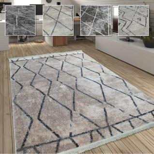 Wohnzimmer Teppich m. Rauten Muster, Skandinavischer Stil, Weich - Soft Garn