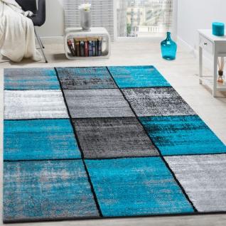 Designer Teppich Modern Kurzflor Karos Speziell Meliert Grau Schwarz Türkis