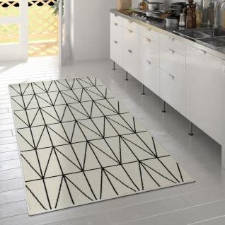 Outdoor Indoor Teppich Weiß 3D Optik Bordüre Skandinavisches Design Kurzflor - Vorschau 2
