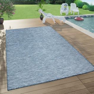 In- & Outdoor-Teppich Für Wohnzimmer, Balkon, Terrasse, Flachgewebe In Dunkel Blau