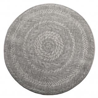Runder In- & Outdoor-Teppich, Flachgewebe Mit Sisal-Look Skandi-Design, In Grau - Vorschau 4