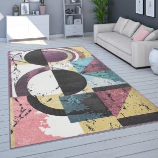 Teppich Für Wohnzimmer, Kurzflor In Pastellfarben, Abstraktes Design, In Bunt