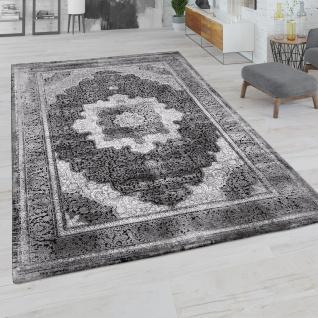 Teppich Wohnzimmer Kurzflor Orient Muster Vintage Bordüre Modern Schwarz Grau