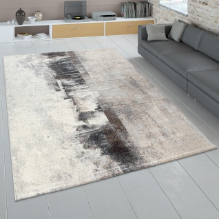Teppich Wohnzimmer Kurzflor, Moderner Vintage Look Abstraktes Design, In Creme