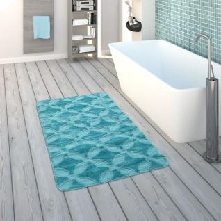 Badematte, Kurzflor-Teppich Für Badezimmer Mit Kreis-Muster, Einfarbig In Türkis
