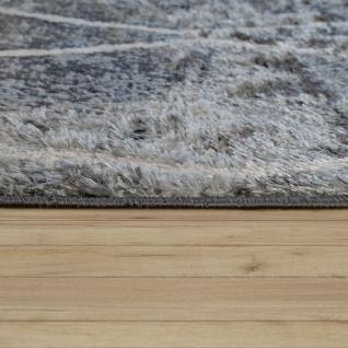 Teppich Wohnzimmer Rauten Fransen Skandinavisch Muster Karo In Grau Creme - Vorschau 2