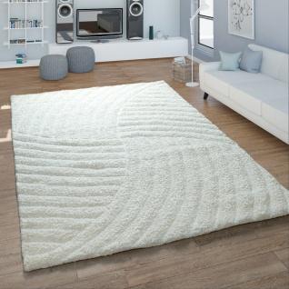 Hochflor Teppich Handgetuftet Wellen Design Konturenschnitt Kuschelig Uni Weiß