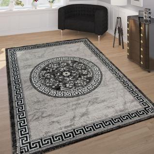Designer Teppich Mit Glitzergarn Klassische Ornamente Bordüre Grau Schwarz Weiß