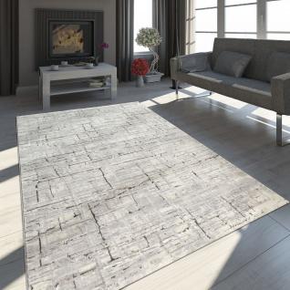 Orient Teppich Modern 3D Effekt Meliert Schimmernd Karo Muster In Grau