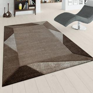 Teppich Wohnzimmer Kurzflor Braun Beige Weich 3-D Effekt Dreieck Design Bordüre
