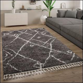 Hochflor Teppich Wohnzimmer Shaggy Skandinavisch Fransen Abstrakt Anthrazit