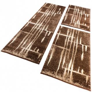Bettumrandung Läufer Modern Meliert Design Braun Beige Creme Läuferset 3 Teilig