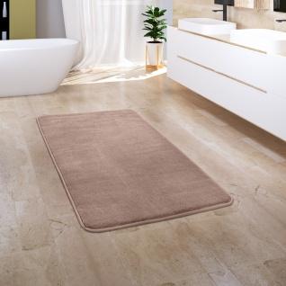 Badezimmerteppich Badematte Badteppich Flauschig Memory Foam Einfarbig Beige