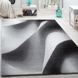 Designer Teppich Modern mit Konturenschnitt Wellen Muster Abstrakt Grau Creme