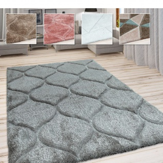 Hochflor Teppich, Kuscheliger Wohnzimmer Pastell Shaggy, 3D Muster m. Soft Garn