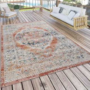 Outdoor Teppich Küchenteppich Balkon Terrasse Vintage Oriental Muster Rot Beige