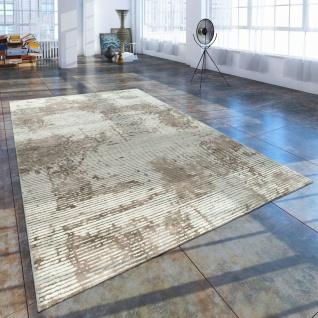 Kurzflor Wohnzimmer Teppich Used Look Abstrakt Cord Optik In Creme Beige