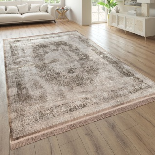 Wohnzimmer-Teppich, Kurzflor Mit Orient-Look, Florales Design In Beige