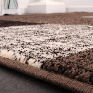 Designer Teppich Kurzflor Karo Muster Braun Creme Meliert - Vorschau 2