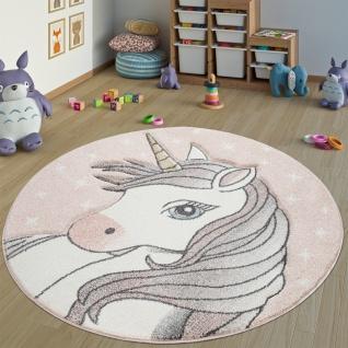 Teppich Kinderzimmer Rund Kinderteppich Mädchen Einhorn Motiv, Modern In Pink