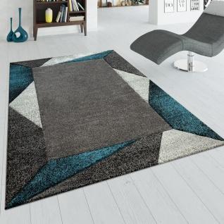 Kurzflor Teppich Türkis Grau Wohnzimmer 3-D Design Bordüre Dreieck Muster