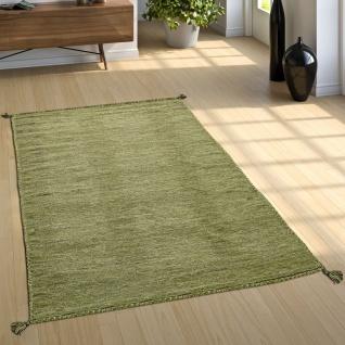 Designer Teppich Webteppich Kelim Handgewebt 100% Baumwolle Modern Meliert Grün