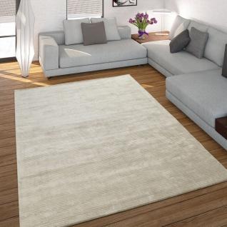 Teppich Handgefertigt Hochwertig 100% Viskose Cord Optik Vintage Glanz Uni Creme
