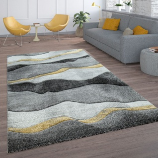 Wohnzimmer-Teppich, Kurzflor Mit Wellen-Muster, In Anthrazit, Grau Und Gold
