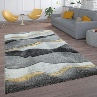 Wohnzimmer-Teppich, Kurzflor Mit Wellen-Muster, In Dunkelgrau Hellgrau Und Gold