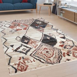 Designer-Teppich, Kurzflor Für Wohnzimmer, Modernes Rauten-Design, In Bunt