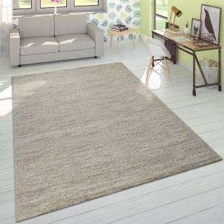 Wohnzimmer Teppich Kurzflor Modern Einfarbig Weich Velours Meliert In Uni Creme