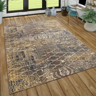 Teppich Wohnzimmer Vintage Design Kurzflor Mit Abstraktem Muster, Modern Braun Blau