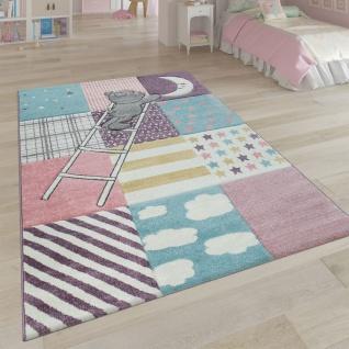 Kinderteppich Kinderzimmer Rosa Bunt Weich 3-D Patchwork Muster Bär Mond Sterne