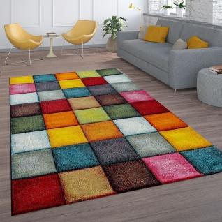 Kurzflor Wohnzimmer Teppich Bunt Karo Design Vierecke Mehrfarbig Farbenfroh