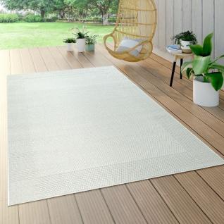 In- & Outdoor-Teppich Für Balkon Und Terrasse, Flachgewebe Mit Bordüre In Weiß