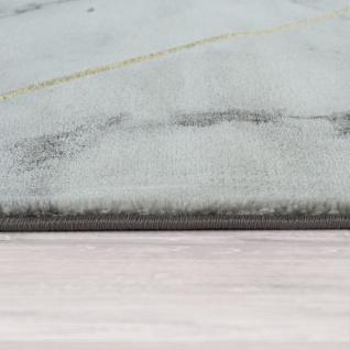Kurzflor Wohnzimmer Teppich Modern Marmor Design Geometrisches Muster Grau Gold - Vorschau 2
