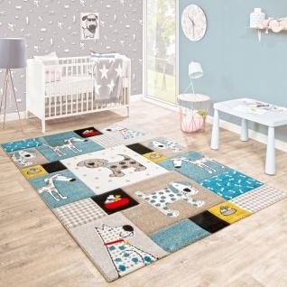 Kinderteppich Kinderzimmer Konturenschnitt Hunde Welt Beige Blau Pastellfarben