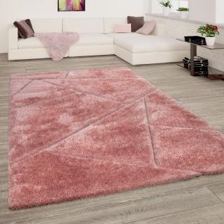 Hochflor Teppich Wohnzimmer Shaggy 3D Effekt Dreieck Muster Modern Rosa