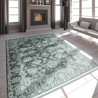 Hochwertiger Wohnzimmer Teppich Moderne Satin Optik Barock Design Fransen Grau