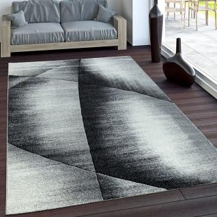 Edler Designer Teppich Kariert mit Konturenschnitt in Grau Schwarz Creme Meliert
