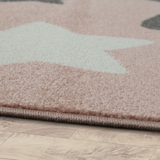 Teppich Kinderzimmer Kinderteppich Große Und Kleine Sterne In Rosa Grau - Vorschau 2