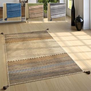 Wohnzimmer Natur Teppich m. Fransen, Handgewebter Muster Kelim, 100% Baumwolle