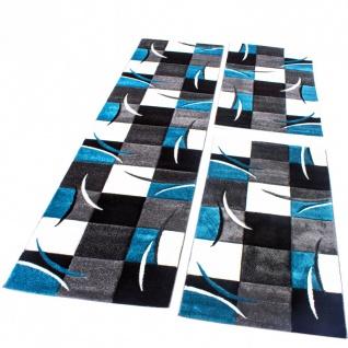Bettumrandung Läufer Teppich Kariert in Türkis Grau Schwarz Weiß Läuferset 3 Tlg - Vorschau 1