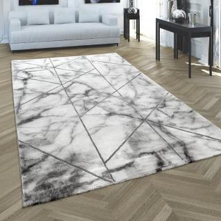 Teppich Wohnzimmer Grau Silber Marmor Optik 3-D Design Kurzflor Hochwertig Weich