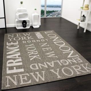 In- & Outdoor Teppich Modern City Sisal Optik Flachgewebe Designer Teppich Grau